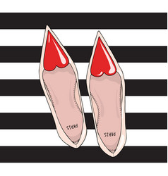 Shoes with a narrow nose and a red heart on top vector