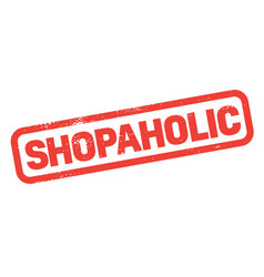 shopaholic stamp on white vector image