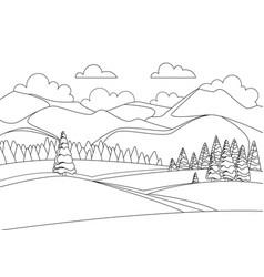 sketch beautiful winter mountain landscape vector image