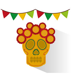skull mexican flower decoration garland colors vector image