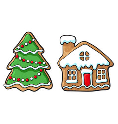 Snowman and house christmas gingerbread cookies vector