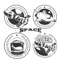 Space labels set - labels or logo with shuttle vector
