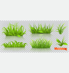Spring green grass 3d realistic icon set vector