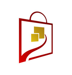 square bag online shop logo for business vector image