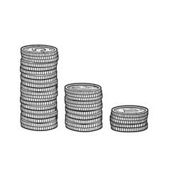 Stacks coins sketch vector