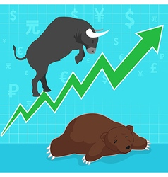 Stock market concept bull and bear vector image