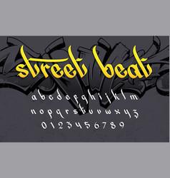 Street beat graffiti style alphabet vector