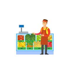 Supermarket store fruits department worker vector