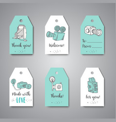 Tags for photo studio or photographer hand drawn vector
