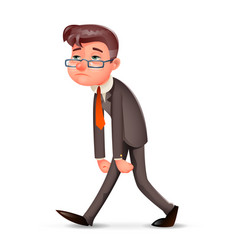 Tired weary fatigue melancholy sad businessman vector