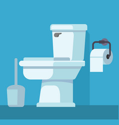 Toilet bowl and toilet paper vector