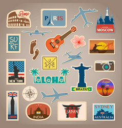 Travel sticker and label set with famous vector