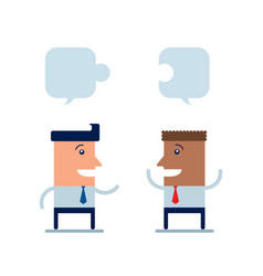 two happy businessman discuss their work and vector image
