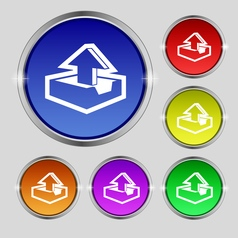 Upload icon sign Round symbol on bright colourful vector