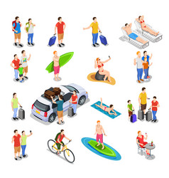 vacation isometric people set vector image