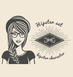 vintage background hipster girl in a cap vector image