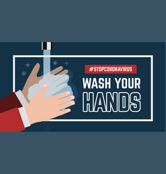 Wash your hand flat on blue vector