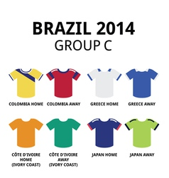 World Cup Brazil 2014 - group C football jerseys vector