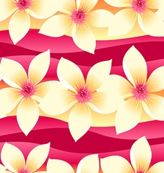 Yellow and pink tropical floral seamless pattern vector
