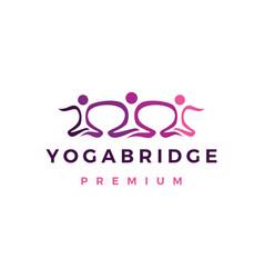 yoga bridge community people logo icon vector image