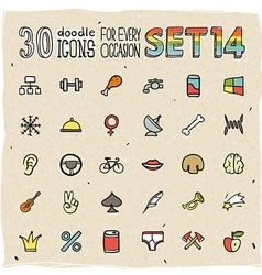 30 Colorful Doodle Icons Set 14 vector image