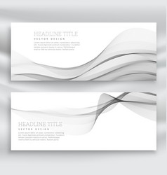Amazing set of gray wave banners template vector