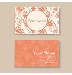 business card floral orange vector image vector image
