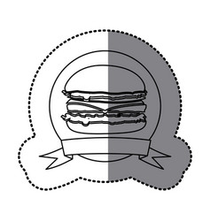 figure emblem hamburger fast food icon vector image