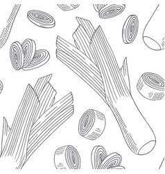 hand drawn seamless pattern with leek vector image