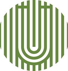 letter line u alphabet design vector image