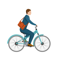 simple cartoon of businessman riding a bicycle vector image vector image