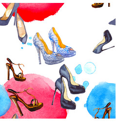 watercolor seamless pattern with shoes vector image vector image