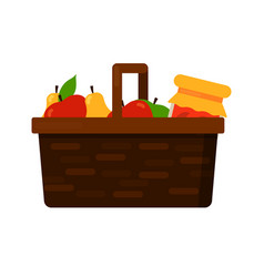 Wicker basket with fruits apple and pear and jam vector
