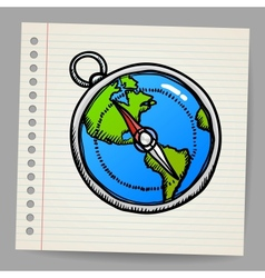 doodle compass vector image