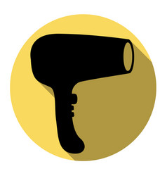 hair dryer sign flat black icon with flat vector image vector image