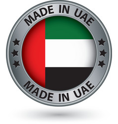 Made in uae silver label with flag vector