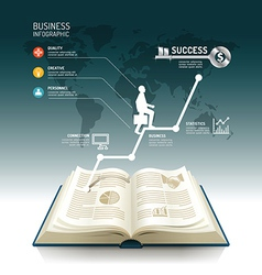 Open book infographic business step paper graph vector image vector image