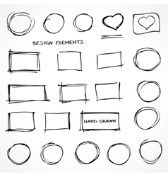 Set of Hand Drawn Isolated Scribble Design vector image