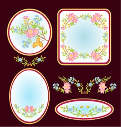 Decorative frames with floral pattern vector image vector image