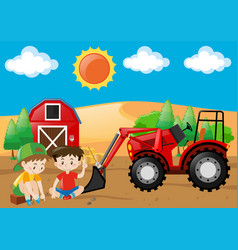 farm scene with boys and tractor in the field vector image vector image