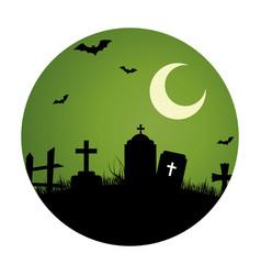 circular landscape of cemetery in halloween night vector image