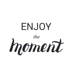 Enjoy the moment lettering calligraphy on brush vector image