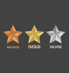 gold silver and bronze star set vector image
