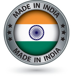 Made in India silver label with flag vector image vector image