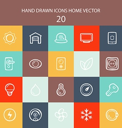 Set of web white thin lines icons home flat vector image vector image