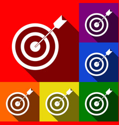 target with dart set of icons with flat vector image