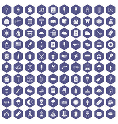100 street food icons hexagon purple vector