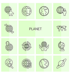 14 planet icons vector image
