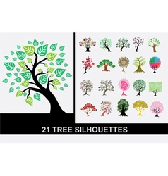 21 tree silhouettes vector image
