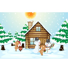 A house snowmen and reindeers vector